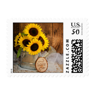 Sunflowers and Garden Watering Can Wedding Postage