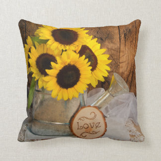 Sunflowers and Garden Watering Can Wedding Throw Pillow