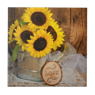 Sunflowers and Garden Watering Can Wedding Tile
