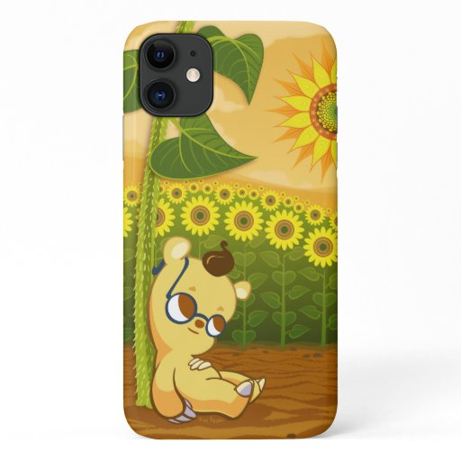 Sunflowers and Kawaii Bear iPhone 11 Case