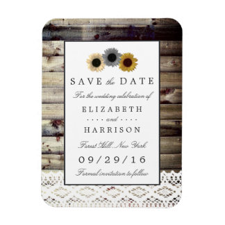 Sunflowers and Lace Rustic Wood Save The Date Magnet