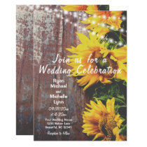 Sunflowers and Lights Rustic Country Wedding Invitation