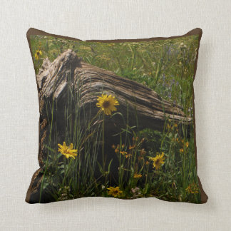 Sunflowers and log wedding personalized  with name throw pillow