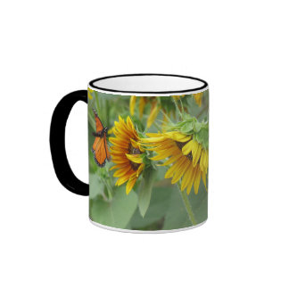 Sunflowers and Monarch Ringer Mug