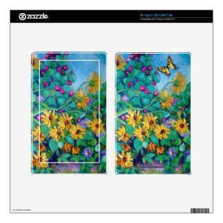 Sunflowers and Morning Glories Kindle Fire Skin