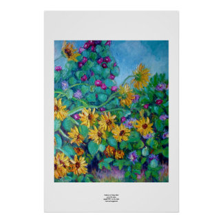 Sunflowers and Morning Glories Poster