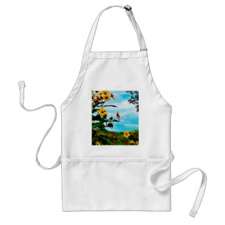 Sunflowers and mountains in Fletcher Vermont Apron
