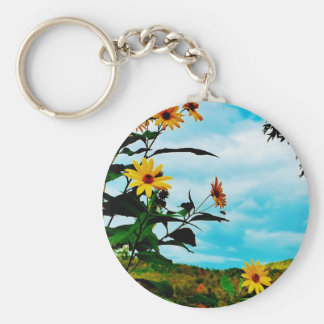Sunflowers and mountains in Fletcher Vermont Key Chains