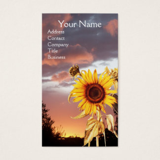 SUNFLOWERS AND PINK SUMMER SUNSET BUSINESS CARD