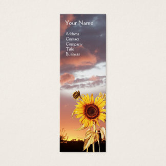 SUNFLOWERS AND PINK SUMMER SUNSET MINI BUSINESS CARD