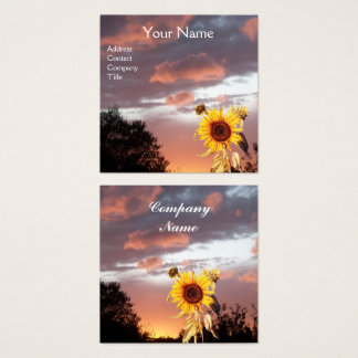 SUNFLOWERS AND PINK SUMMER SUNSET SQUARE BUSINESS CARD