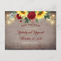 Sunflowers and Red Flowers Fall Save the Date Announcement Postcard