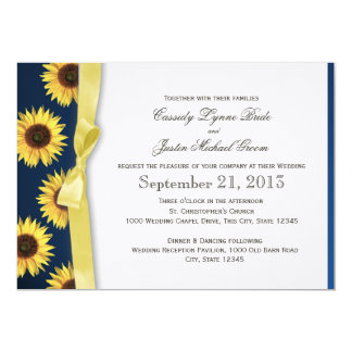 Sunflowers and Ribbon Country Wedding Card