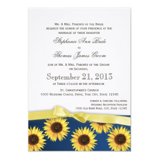 """Sunflowers and Ribbon Country Wedding 5"""" X 7"""" Invitation Card"""
