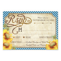Sunflowers and Rooster Country Picinic RSVP Card