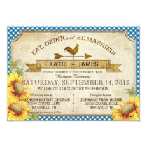 Sunflowers and Rooster Picnic Wedding Invitation