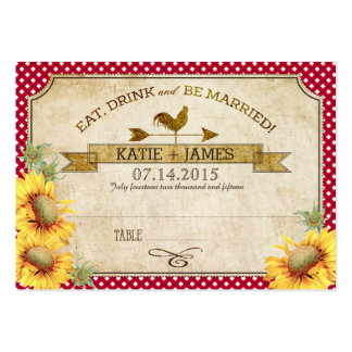 Sunflowers and Rooster Picnic Wedding Place Cards