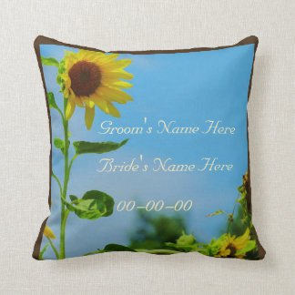 Sunflowers and Sky wedding personalized  with name Throw Pillow