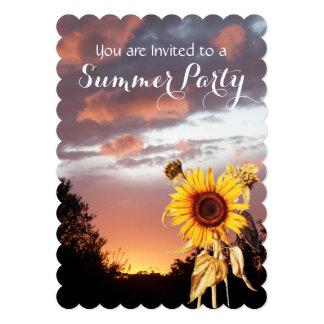 """SUNFLOWERS AND SUMMER SUNSET PARTY 5"""" X 7"""" INVITATION CARD"""