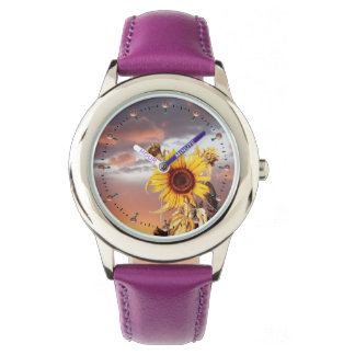 SUNFLOWERS AND SUMMER SUNSET, PINK CLOUDS AND GEMS WRIST WATCHES