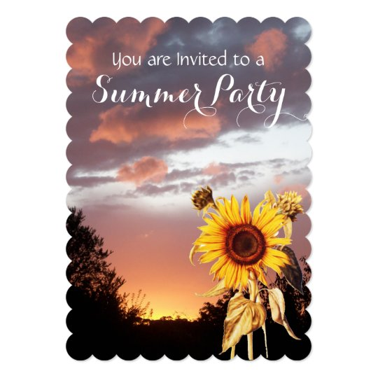 SUNFLOWERS AND SUMMER SUNSET RUSTIC WEDDING PARTY CARD