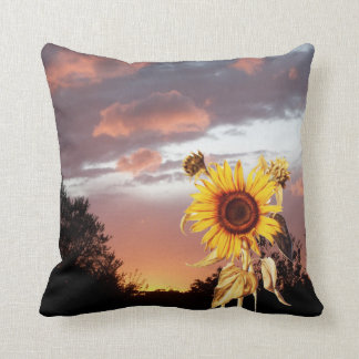 SUNFLOWERS AND SUMMER SUNSET THROW PILLOW