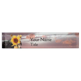 SUNFLOWERS AND SUMMER SUNSET WITH PINK CLOUDS NAMEPLATE