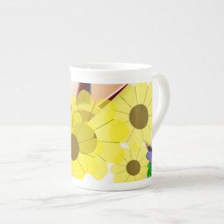 Sunflowers and sun western tea cup