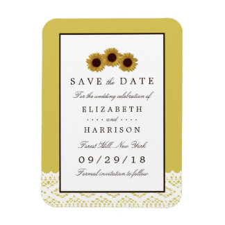 Sunflowers and Vintage Lace Wedding Save The Date Magnet