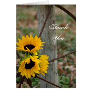Sunflowers and Wagon Wheel Bridesmaid Thank You Greeting Card