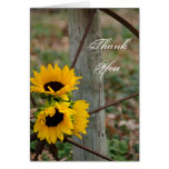 Sunflowers and Wagon Wheel Country Thank You Note Greeting Card