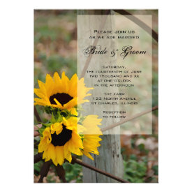 Sunflowers and Wagon Wheel Country Wedding Personalized Invite