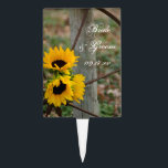 """Sunflowers and Wagon Wheel Country Western Wedding Cake Topper<br><div class=""""desc"""">The rustic chic Sunflowers and Wagon Wheel Country Wedding Cake Pick can be personalized with the names of the bride and groom and date of their casual yet classy bridal shower or marriage reception. This charming custom ranch theme wedding cake topper features a quaint digitally painted floral photograph of a...</div>"""