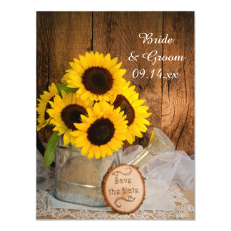 Sunflowers and Watering Can Wedding Save the Date Magnetic Invitations