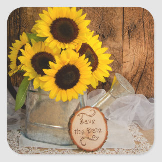 Sunflowers and Watering Can Wedding Save the Date Square Sticker