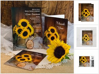 Sunflowers and Watering Can Wedding Stationery