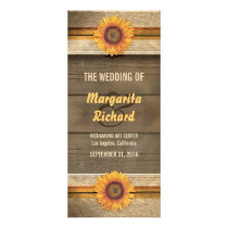 sunflowers and wood country wedding programs
