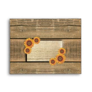 sunflowers and wood rsvp wedding envelopes small