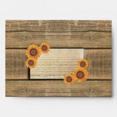 sunflowers and wood wedding envelopes