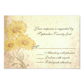 Sunflowers Antique Look Wedding RSVP Card