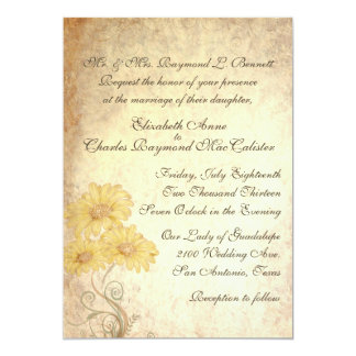 Sunflowers Antique Reproduction Wedding Invitation
