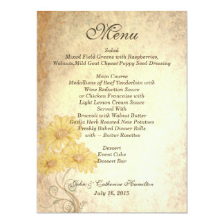 Sunflowers Antique Reproduction Wedding Table Menu Card