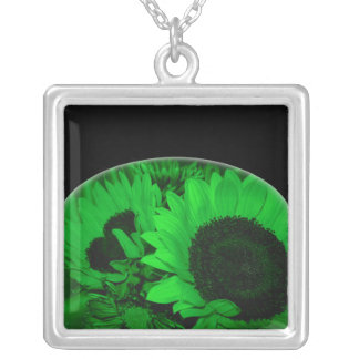 """Sunflowers Arched in Neon Green"" Square Pendant Necklace"