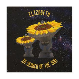 Sunflowers As Radio Telescope Antenna Follow Wood Wall Decor