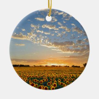 Sunflowers at Sunset Ceramic Ornament