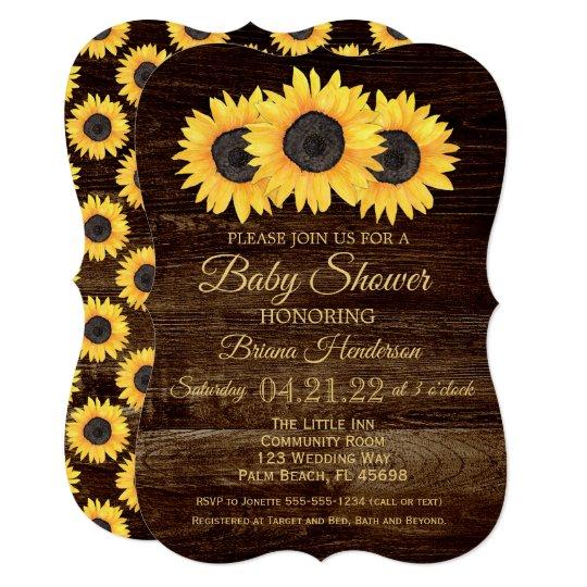9eb8f5632e390 Sunflowers Baby Shower Invitation Rustic Wood