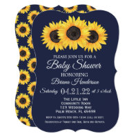 0f2ecf97dbc0 Sunflowers Baby Shower Invitations Country Blue
