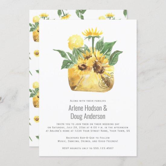 Sunflowers Backyard Casual Wedding Bar-B-Que   Invitation