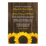 Sunflowers Barn Wood Wedding 5x7 Paper Invitation Card