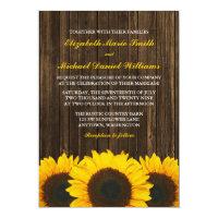 Sunflowers Barn Wood Wedding 5x7 Paper Invitation Card (<em>$2.01</em>)